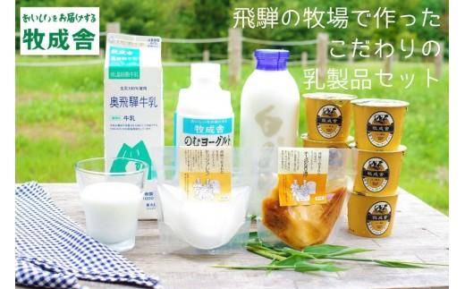 <牧成舎>牛乳・ヨーグルト・チーズ 飛騨産生乳で作るこだわりのセット[B0096]