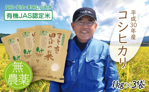 B-49 【H30新米】〈村上ファーム〉無農薬 有機JAS認定米 コウノトリ育む田んぼのお米 1kg×3袋