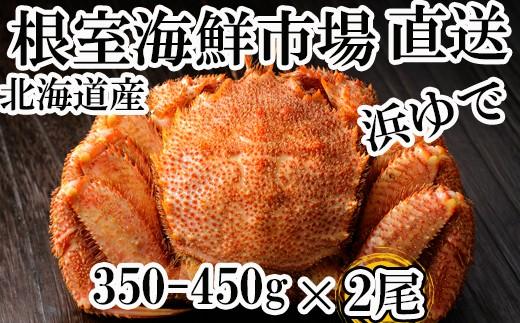 CA-60013 根室海鮮市場<直送>北海道産浜茹で毛ガニ350~450g×2尾
