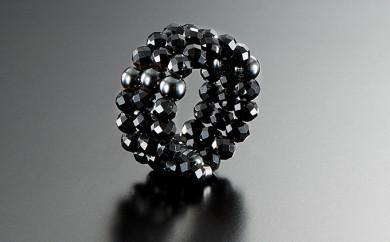 [№5696-3379]男の指輪「ブラックスピネル」3連スパイラルリング・磁石付