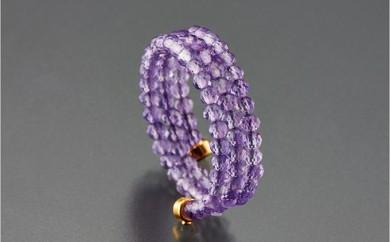 [№5696-3381]貴賓の紫「アメシスト」3連スパイラルリング