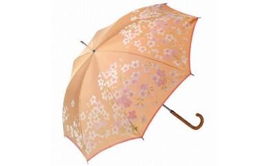 絵おり晴雨兼用長傘 桜:ベージュ
