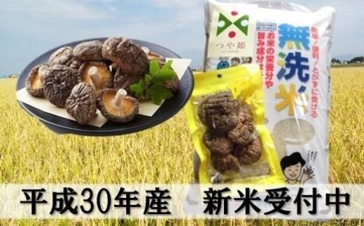 087 小野寺農園の無洗米つや姫5kg+乾燥椎茸30gセット