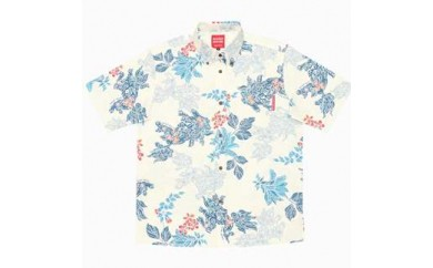 ぐすーじシーサー「メンズ【L】:オフブルー」(ボタンダウンシャツ)