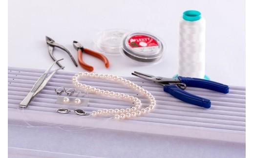 Q-12鳥羽市宿泊観光周遊券付きあこや真珠ネックレス&イヤリング(ピアス)セット作り