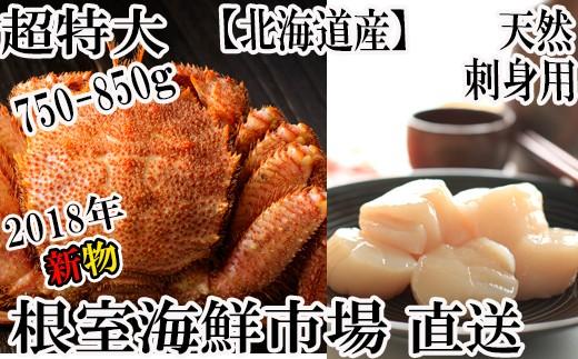 CB-60002 根室海鮮市場<直送>北海道産毛ガニ750~750g×1尾、ほたて500g