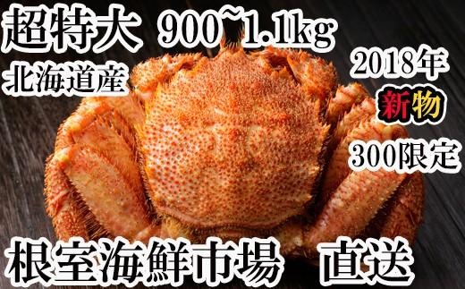 CB-60029 根室海鮮市場<直送>北海道産浜ゆで毛がに900g~1.1kg×1尾「限定300セット」