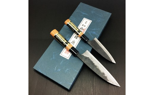 C-537 樺山鍛治工場の包丁セット(菜切り、165mm/小包丁、120mm 共に桜柄)