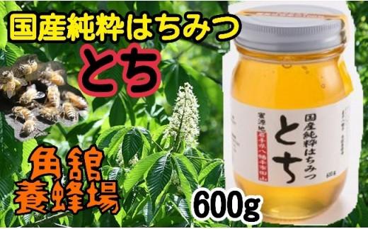 HMG029 角舘養蜂場の国産純粋蜂蜜600g【トチ】