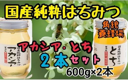 HMG030 角舘養蜂場の国産純粋蜂蜜600g×2【アカシア・トチ】