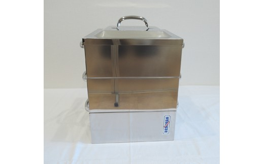 1806009 IH対応業務用角蒸し器2段30cm (蒸し布付)