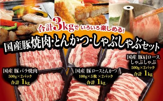 A279 『主役級!!これぞ王道!!』国産豚焼肉・とんかつ・しゃぶしゃぶセット(合計3kg)