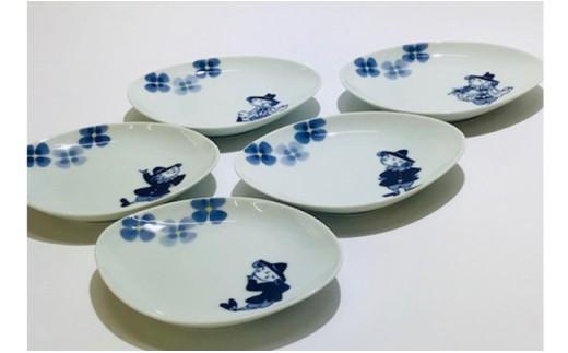 A25-68 青花 新シリーズ 夢みる異人たちの舟型銘々皿(5枚セット)小島芳栄堂