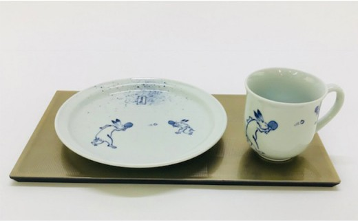 A30-57 青花 新シリーズ GIGA 卓球 マグカップ 玉渕七寸皿 小島芳栄堂