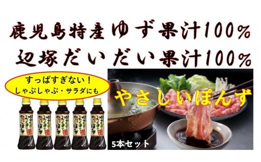 【A05010】無添加やさしいポン酢5本セット