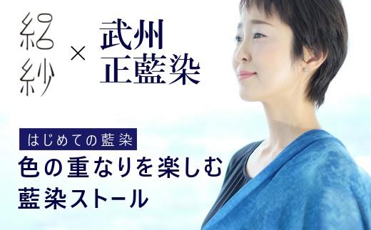 【L-54】【絽紗】はじめての藍染 シルク100% 色の重なりを楽しむ藍染ストール