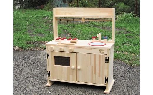 B-034  手作り木製「棚付き」ままごとキッチン・大きなレンジ付き DHK-R