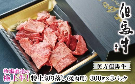 D-40【牧場直送の極上牛!美方但馬牛】特上切り落し300g×3パック(焼肉用)