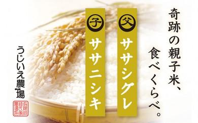 [№5706-0101]30年産 「ササニシキ親子米(各1kg)」食べ比べセット
