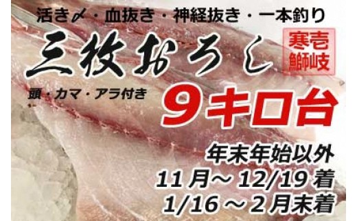 A061-30壱岐島産天然寒ブリ(9キロ台・3枚おろし)  33,600pt