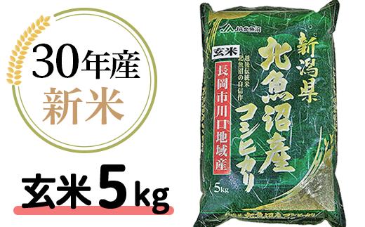 205-1【玄米】北魚沼産コシヒカリ5kg(長岡川口地域)H30年産