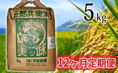 [№5865-0238] 【12ヶ月定期便】特別栽培米五郎兵衛米 5kg