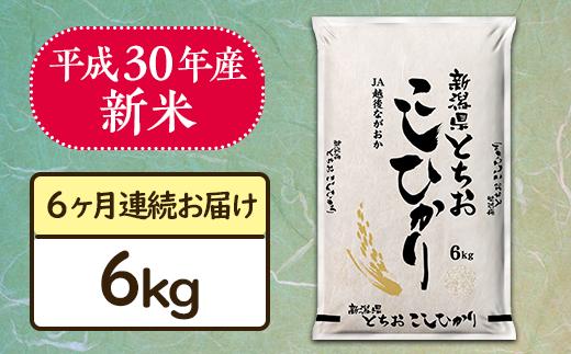 【6ヶ月連続お届け】新潟県長岡産コシヒカリ(栃尾地域)6kg【H30年産】
