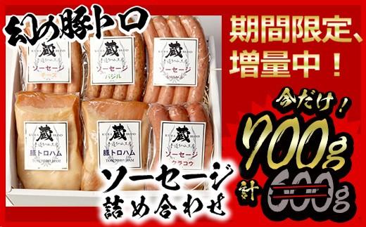 A-399【期間限定増量】幻の豚トロハム&ソーセージセット(5種・計600g+100g)