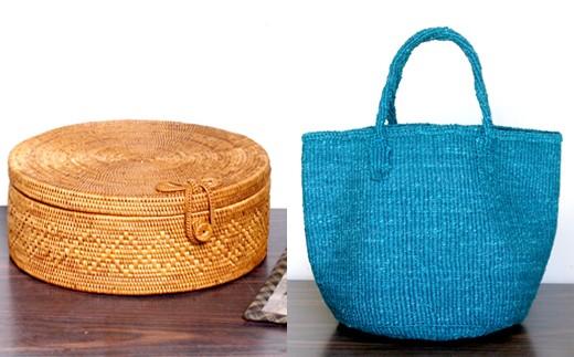 ◇バリ島発リボン付き丸型バスケット&ケニア発サイザルバッグ