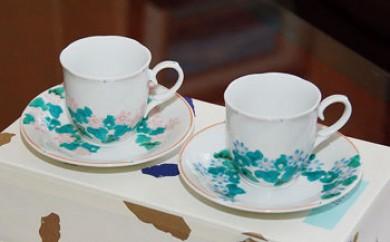 ペアコーヒーカップ 雪割草(花翠作)