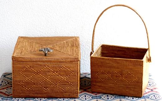 ☆バリ島発アタ製品 正方形ボックス&可動式取っ手バスケット