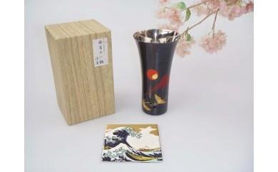 山中塗 漆磨シングルLカップ手描き漆絵箔ちらし赤富士に鶴【九谷焼(青郊窯)コースター付】