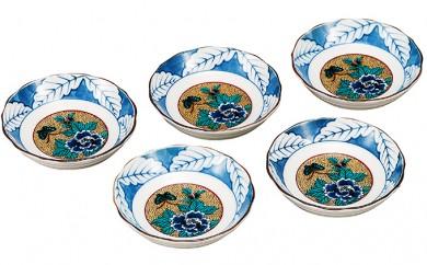 [№5784-0224]九谷焼 3.2号皿揃・吉田屋牡丹(5枚セット)