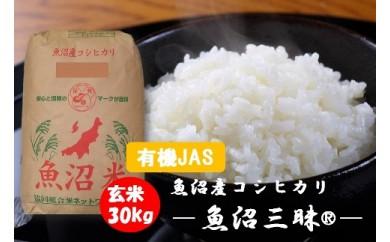 [有機JAS]魚沼産コシヒカリ 魚沼三昧®有機栽培米玄米30kg