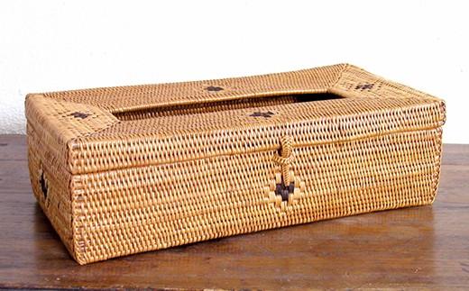 ☆バリ島発アタ製品 ティッシュボックス(ドット模様)