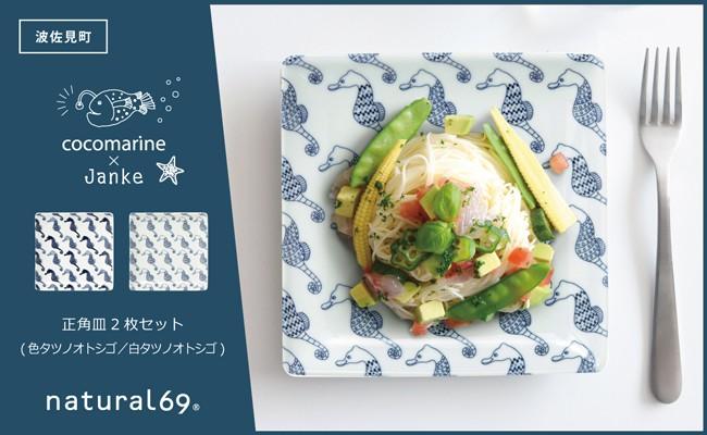 QA65 【波佐見焼】正角皿2枚セット(色/白タツノオトシゴ)【natural69 cocomarine×Janke】-1