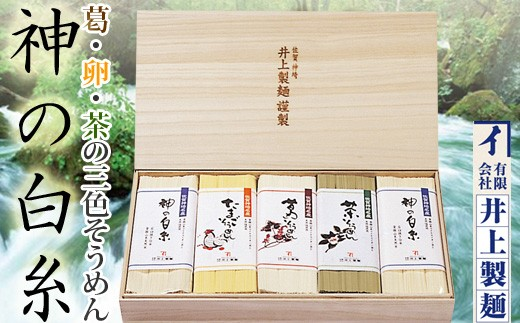 【神埼そうめん】井上製麺 三色詰合せ(葛・卵・茶・神の白糸)
