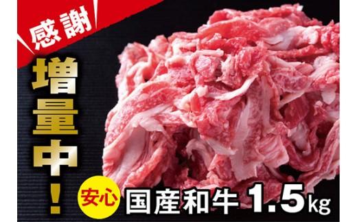 B-197.国産和牛切り落とし1kg+500g【期間限定感謝1パック増量!】