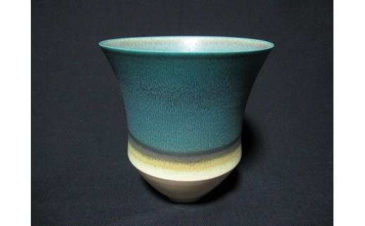 BI-6 陶芸家「井上英基」作 碧彩花器(桐箱付き)