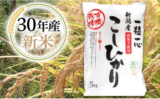 1-412【H30年産】新潟県長岡産有機JASコシヒカリ5kg