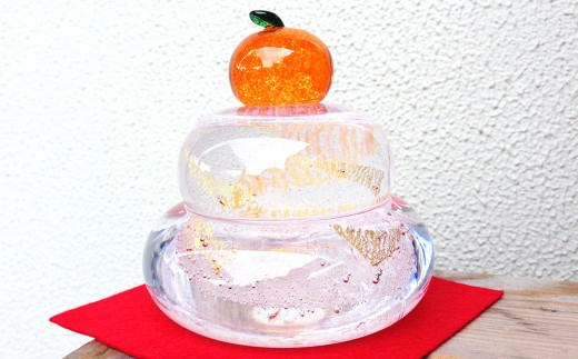 Y-1 ガラス鏡餅「もっちり」【ひとつひとつ手作りしています】