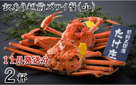 [C-1601] 【11月発送分】訳あり越前ズワイ蟹(小) 2杯