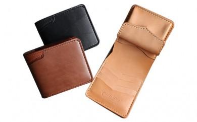 [№5880-1079]レザー二つ折財布ハーフ(黒・茶・ナチュラル)100×120×25mm