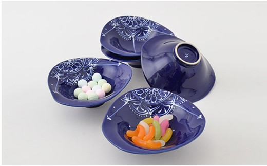 PA72 【波佐見焼】Lapis Lazuli Blueレース 変形中鉢5個セット【福田陶器店】-2
