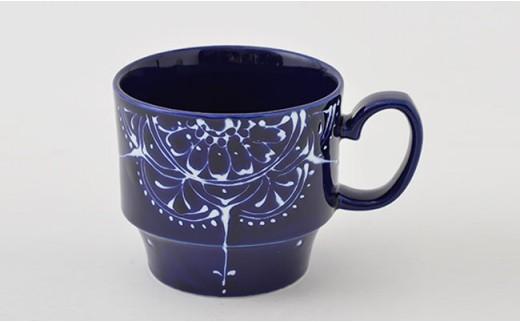 PA64 【波佐見焼】Lapis Lazuli Blue レース スタッキングマグカップ5個セット【福田陶器店】-2