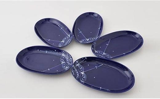 PA69 【波佐見焼】Lapis Lazuli Blueレース 楕円プレート5枚セット【福田陶器店】-2