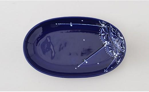 PA69 【波佐見焼】Lapis Lazuli Blueレース 楕円プレート5枚セット【福田陶器店】-3