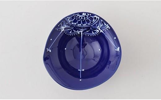 PA72 【波佐見焼】Lapis Lazuli Blueレース 変形中鉢5個セット【福田陶器店】-3