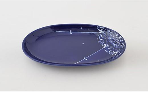 PA69 【波佐見焼】Lapis Lazuli Blueレース 楕円プレート5枚セット【福田陶器店】-4