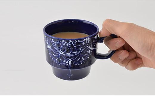 PA64 【波佐見焼】Lapis Lazuli Blue レース スタッキングマグカップ5個セット【福田陶器店】-4